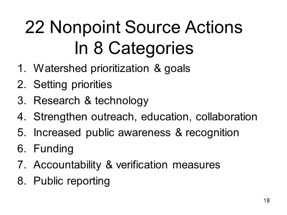 22 Nonpoint Source Actions In 8 Categories 1.Watershed prioritization & goals 2.Setting priorities 3.Research & technology 4.Strengthen outreach, educ
