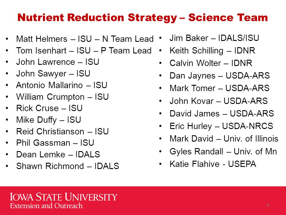 Nutrient Reduction Strategy – Science Team Matt Helmers – ISU – N Team Lead Tom Isenhart – ISU – P Team Lead John Lawrence – ISU John Sawyer – ISU Antonio Mallarino – ISU William Crumpton – ISU Rick Cruse – ISU Mike Duffy – ISU Reid Christianson – ISU Phil Gassman – ISU Dean Lemke – IDALS Shawn Richmond – IDALS Jim Baker – IDALS/ISU Keith Schilling – IDNR Calvin Wolter – IDNR Dan Jaynes – USDA-ARS Mark Tomer – USDA-ARS John Kovar – USDA-ARS David James – USDA-ARS Eric Hurley – USDA-NRCS Mark David – Univ.