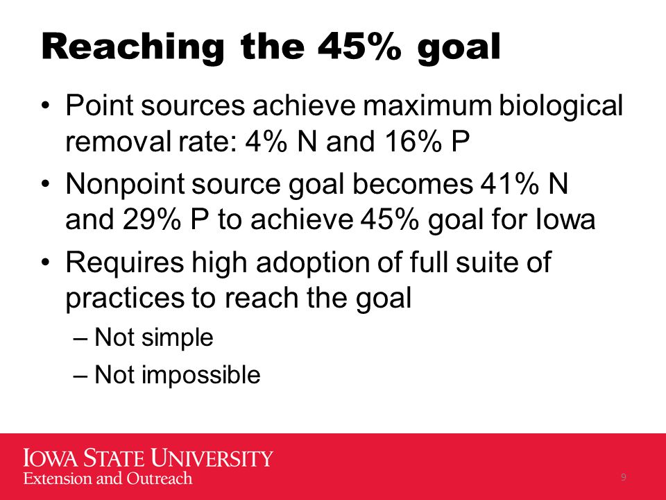 Reaching the 45% goal Point sources achieve maximum biological removal rate: 4% N and 16% P Nonpoint source goal becomes 41% N and 29% P to achieve 45% goal for Iowa Requires high adoption of full suite of practices to reach the goal –Not simple –Not impossible 9