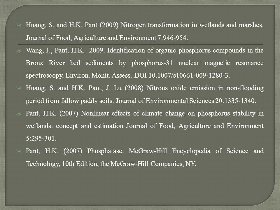  Pant, H.K.(2011) Assessing phosphorus loading in wetlands.