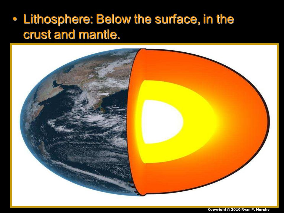 Lithosphere: Below the surface, in the crust and mantle.Lithosphere: Below the surface, in the crust and mantle. Copyright © 2010 Ryan P. Murphy