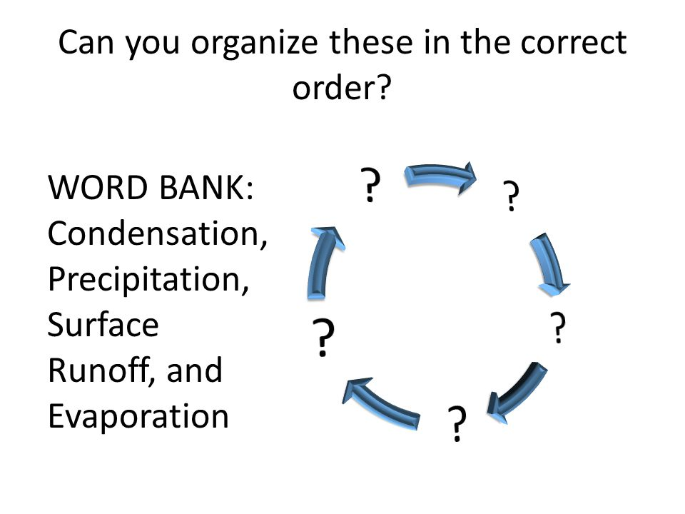 Can you organize these in the correct order? WORD BANK: Condensation, Precipitation, Surface Runoff, and Evaporation