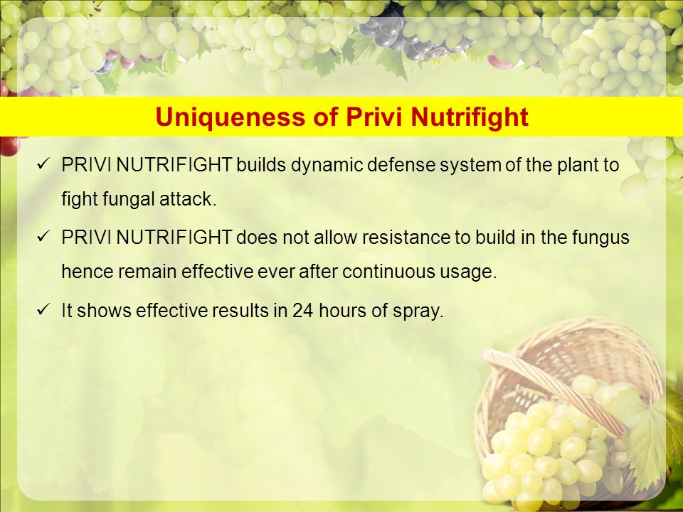 Uniqueness of Privi Nutrifight PRIVI NUTRIFIGHT builds dynamic defense system of the plant to fight fungal attack. PRIVI NUTRIFIGHT does not allow res