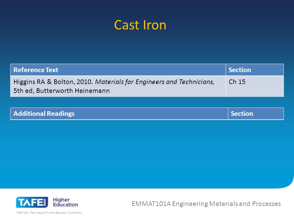 TAFE NSW -Technical and Further Education Commission Cast Iron EMMAT101A Engineering Materials and Processes Reference TextSection Higgins RA & Bolton, 2010.