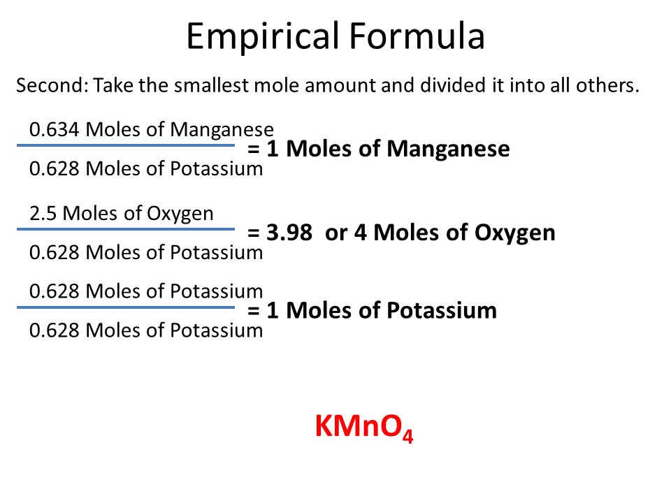 Empirical Formula 0.634 Moles of Manganese = 1 Moles of Manganese Second: Take the smallest mole amount and divided it into all others.