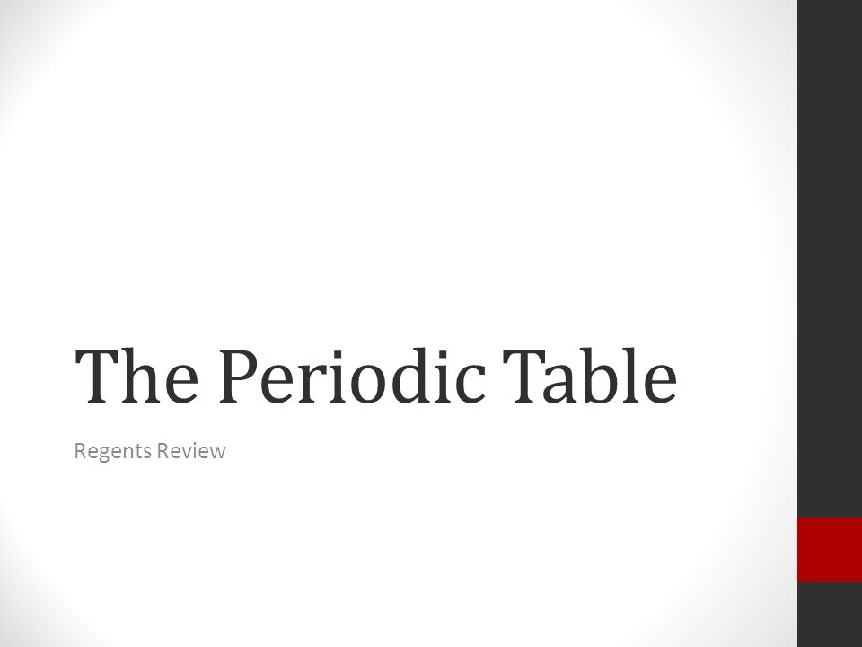 The Periodic Table Regents Review