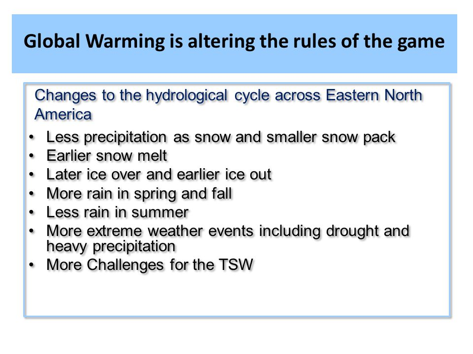 Global Warming is altering the rules of the game Changes to the hydrological cycle across Eastern North America Less precipitation as snow and smaller snow pack Earlier snow melt Later ice over and earlier ice out More rain in spring and fall Less rain in summer More extreme weather events including drought and heavy precipitation More Challenges for the TSW Changes to the hydrological cycle across Eastern North America Less precipitation as snow and smaller snow pack Earlier snow melt Later ice over and earlier ice out More rain in spring and fall Less rain in summer More extreme weather events including drought and heavy precipitation More Challenges for the TSW