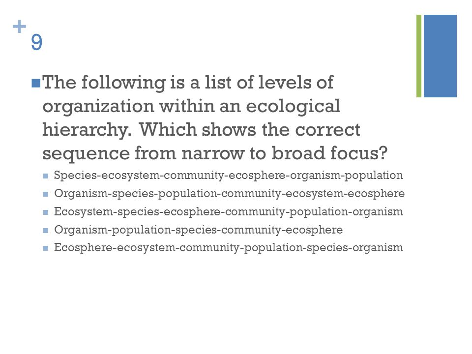 + 9 The following is a list of levels of organization within an ecological hierarchy. Which shows the correct sequence from narrow to broad focus? Spe