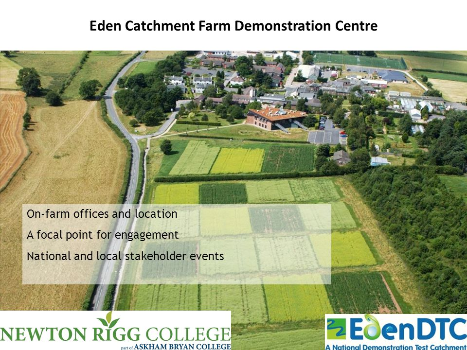 Eden Catchment Farm Demonstration Centre On-farm offices and location A focal point for engagement National and local stakeholder events