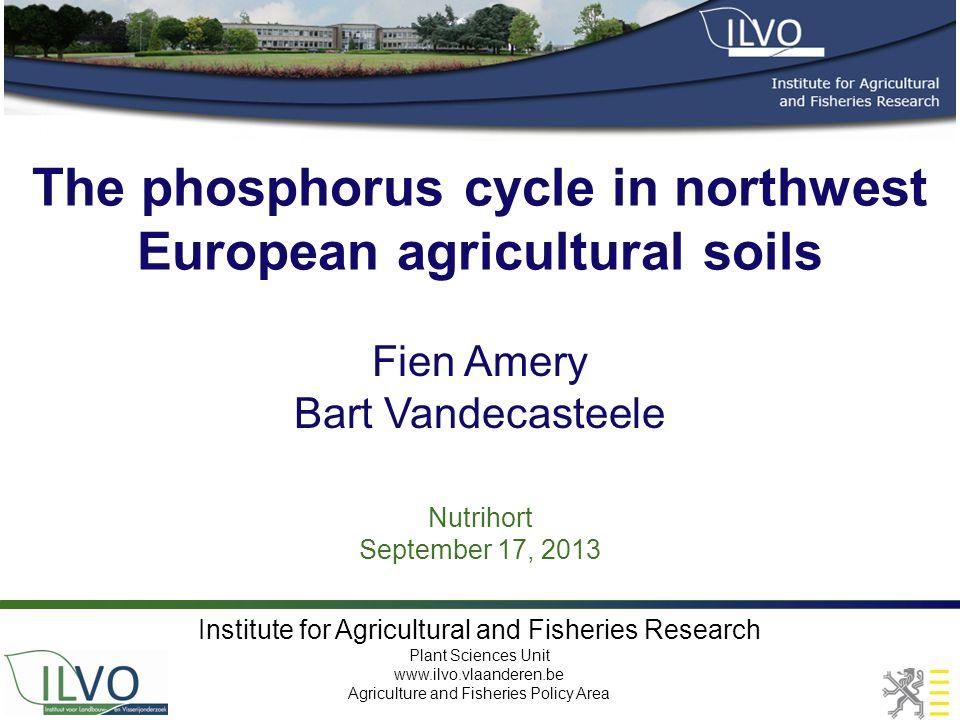 The phosphorus cycle in northwest European agricultural soils Nutrihort September 17, 2013 Fien Amery Bart Vandecasteele Institute for Agricultural an