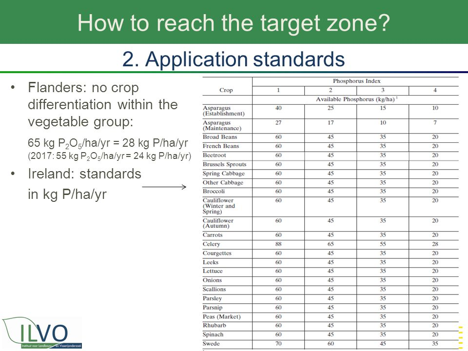 How to reach the target zone? 15 2. Application standards Flanders: no crop differentiation within the vegetable group: 65 kg P 2 O 5 /ha/yr = 28 kg P