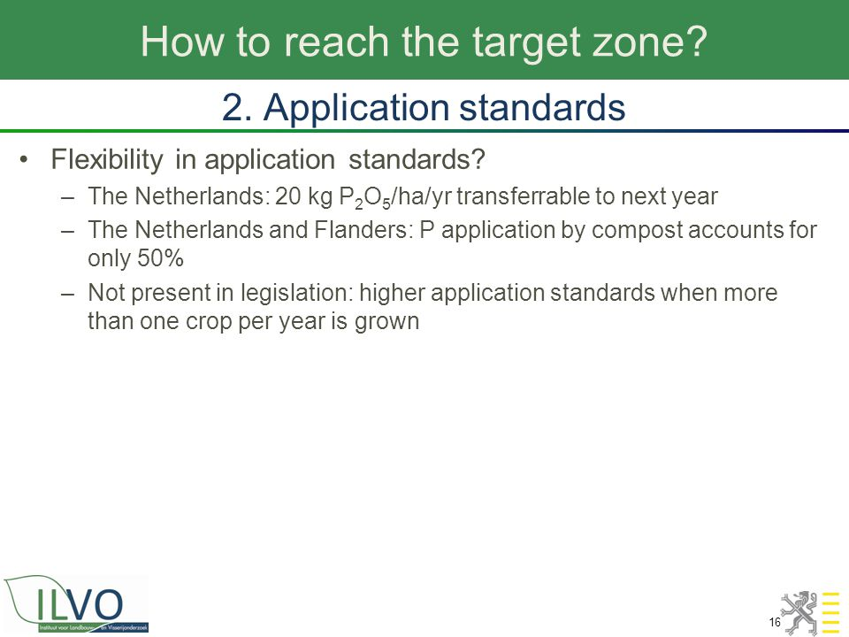 How to reach the target zone? 16 2. Application standards Flexibility in application standards? –The Netherlands: 20 kg P 2 O 5 /ha/yr transferrable t