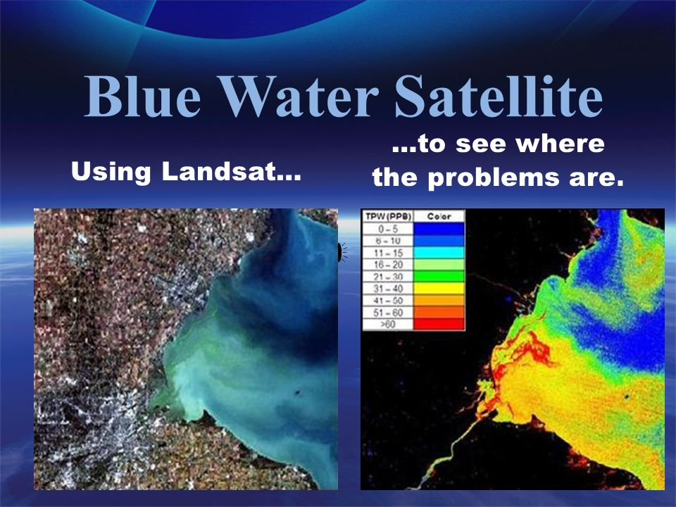 Blue Water Satellite Using Landsat… …to see where the problems are.
