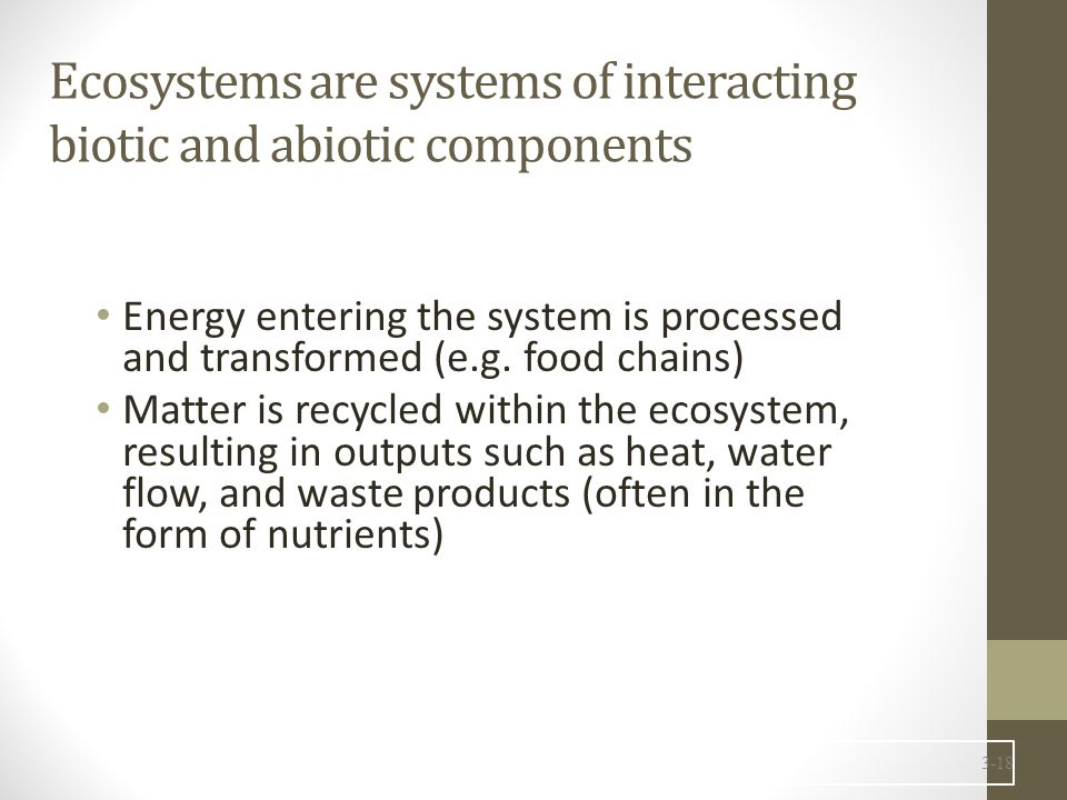 3-18 Ecosystems are systems of interacting biotic and abiotic components Energy entering the system is processed and transformed (e.g. food chains) Ma