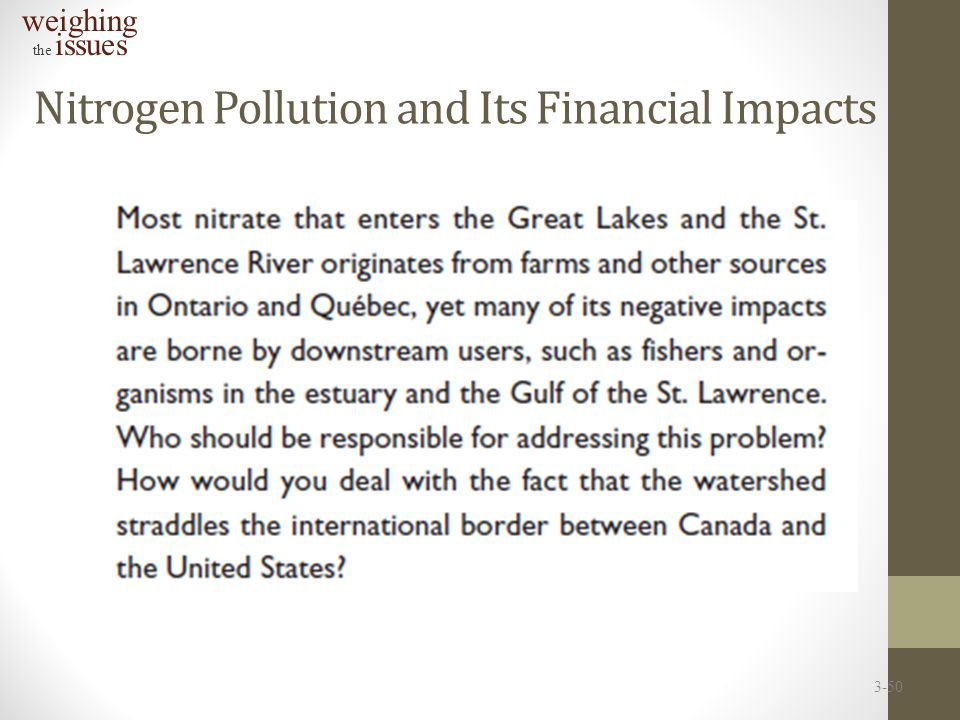 Nitrogen Pollution and Its Financial Impacts weighing the issues 3-50
