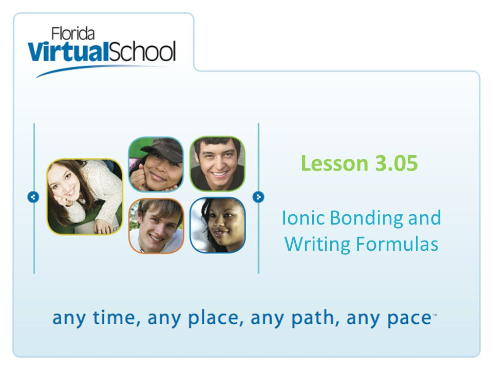 Lesson 3.05 Ionic Bonding and Writing Formulas
