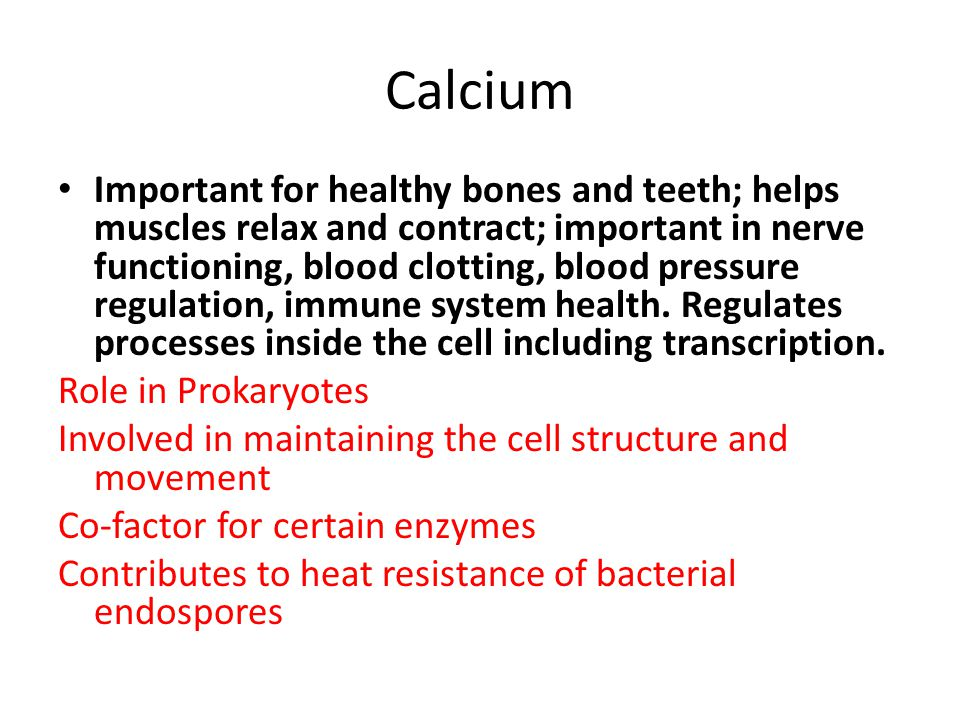 Calcium Important for healthy bones and teeth; helps muscles relax and contract; important in nerve functioning, blood clotting, blood pressure regulation, immune system health.