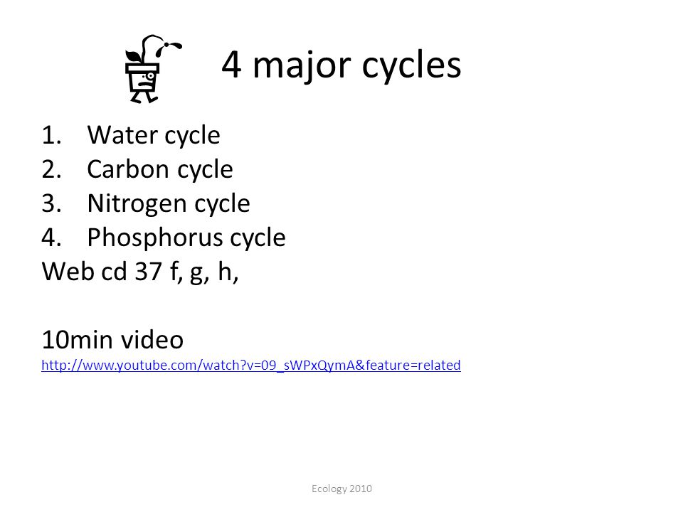 4 major cycles 1.Water cycle 2.Carbon cycle 3.Nitrogen cycle 4.Phosphorus cycle Web cd 37 f, g, h, 10min video http://www.youtube.com/watch?v=09_sWPxQymA&feature=related