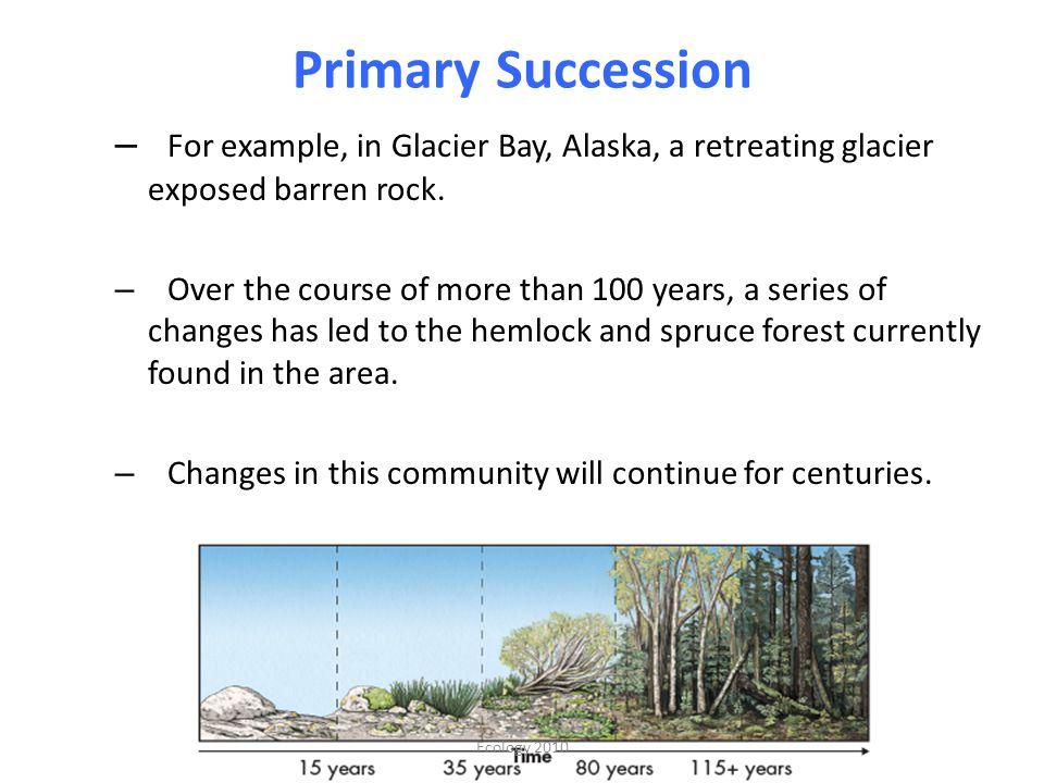 Primary Succession – For example, in Glacier Bay, Alaska, a retreating glacier exposed barren rock.
