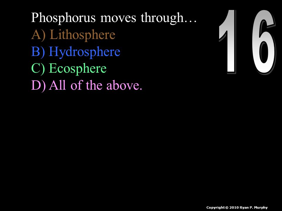 Phosphorus moves through… A) Lithosphere B) Hydrosphere C) Ecosphere D) All of the above.