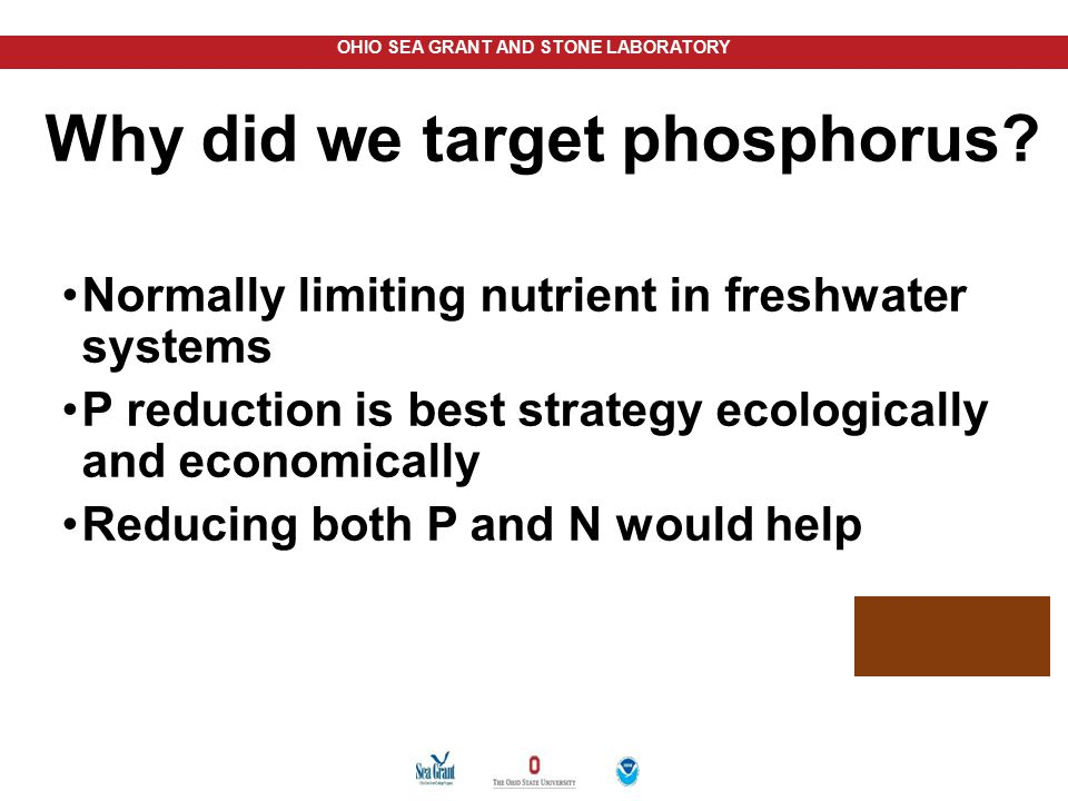 OHIO SEA GRANT AND STONE LABORATORY Normally limiting nutrient in freshwater systems P reduction is best strategy ecologically and economically Reduci