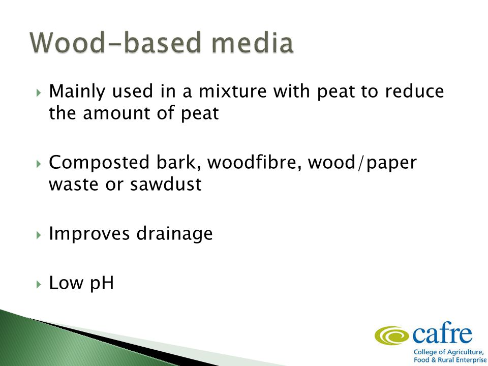  Mainly used in a mixture with peat to reduce the amount of peat  Composted bark, woodfibre, wood/paper waste or sawdust  Improves drainage  Low pH