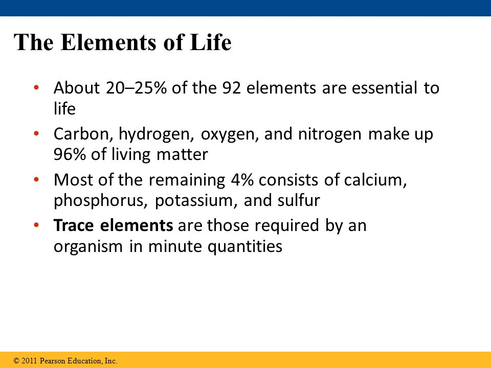The Elements of Life About 20–25% of the 92 elements are essential to life Carbon, hydrogen, oxygen, and nitrogen make up 96% of living matter Most of the remaining 4% consists of calcium, phosphorus, potassium, and sulfur Trace elements are those required by an organism in minute quantities © 2011 Pearson Education, Inc.