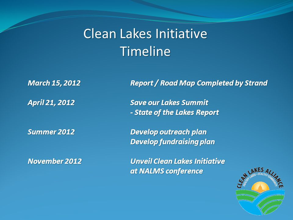 Clean Lakes Initiative Timeline March 15, 2012Report / Road Map Completed by Strand April 21, 2012Save our Lakes Summit - State of the Lakes Report Summer 2012Develop outreach plan Develop fundraising plan November 2012Unveil Clean Lakes Initiative at NALMS conference