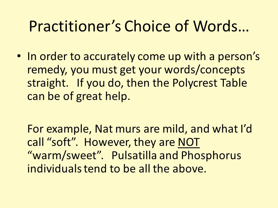 Practitioner's Choice of Words… In order to accurately come up with a person's remedy, you must get your words/concepts straight.