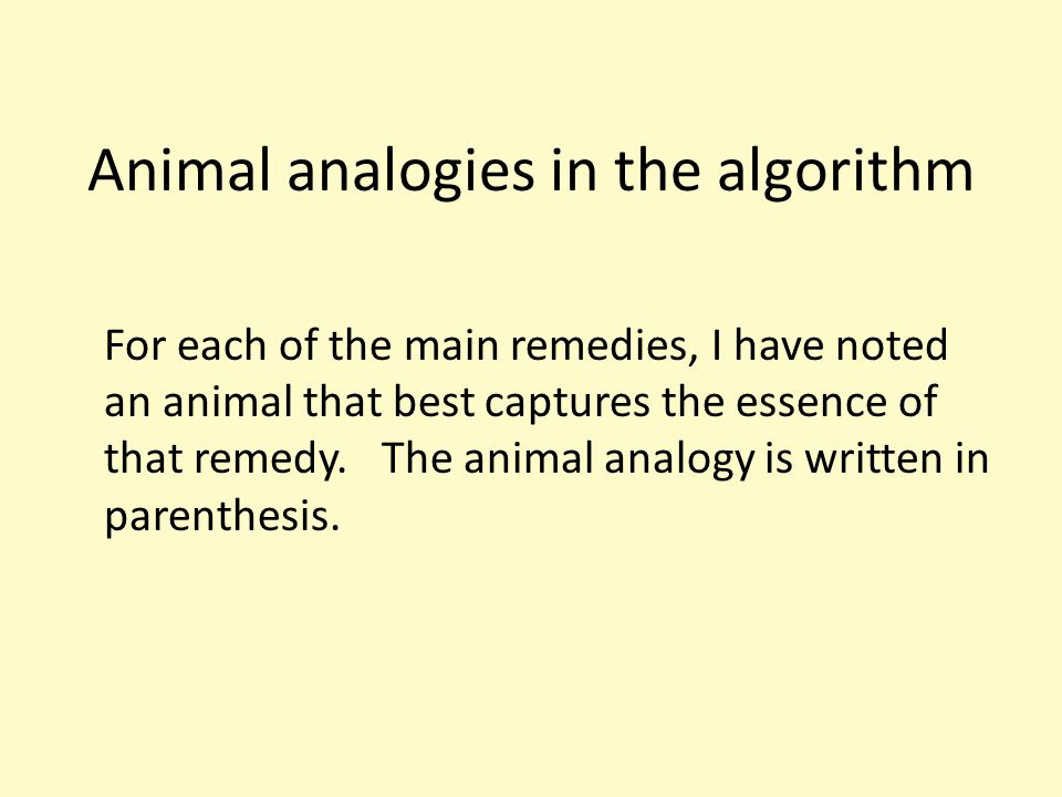 Animal analogies in the algorithm For each of the main remedies, I have noted an animal that best captures the essence of that remedy.