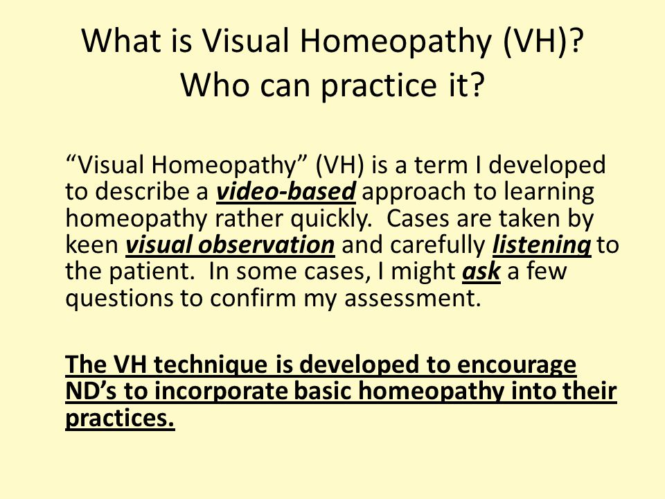 What is Visual Homeopathy (VH). Who can practice it.