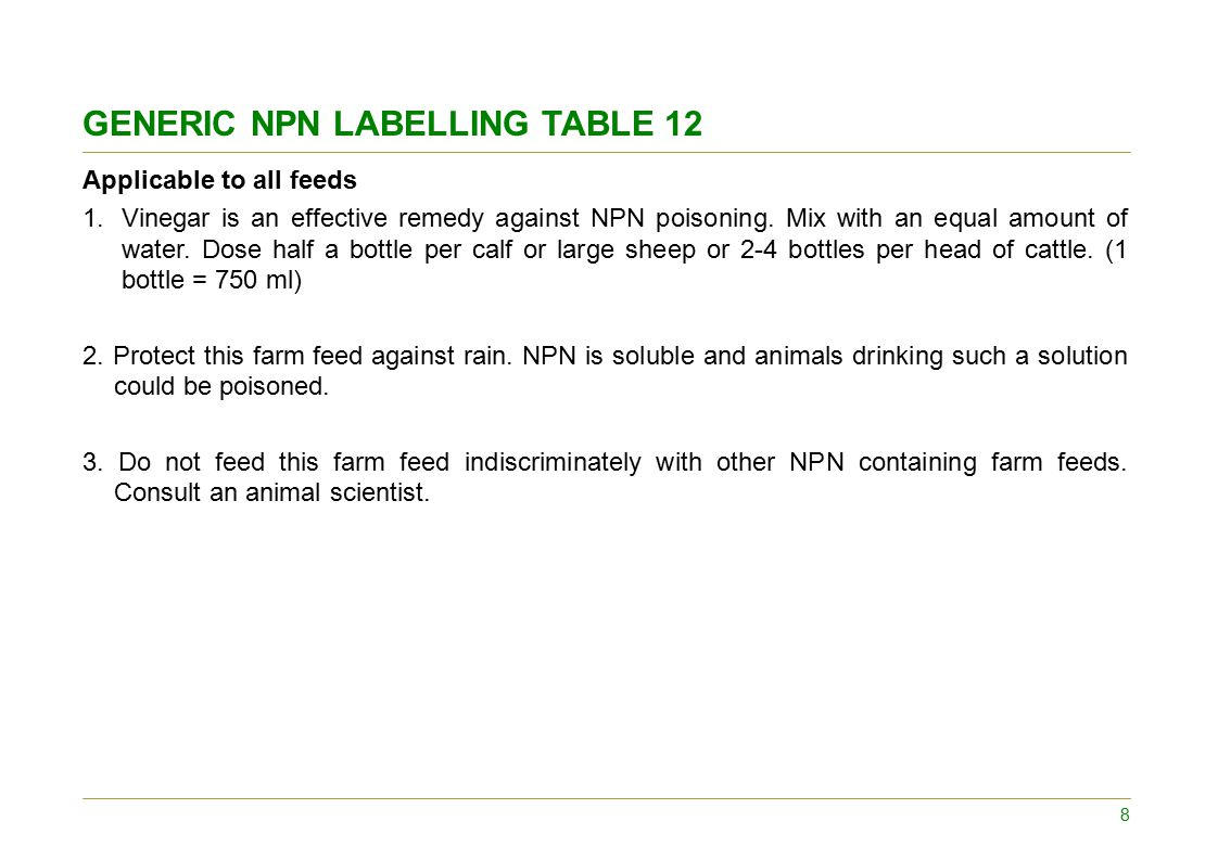 SPECIFIC NPN LABELLING Concentrates 4.