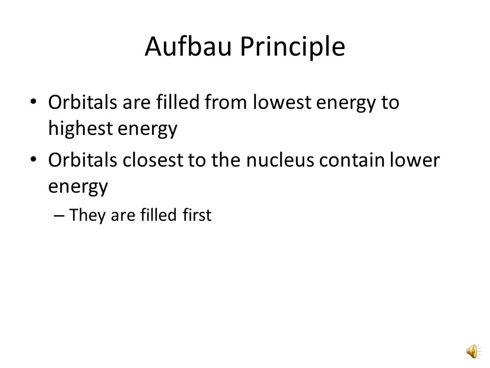 Orbital Diagram for Neon 1s Aufbau Principle Orbitals are filled from lowest energy to highest energy 2s 2p All orbitals within the highest sublevel level are completely filled