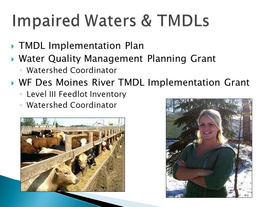  TMDL Implementation Plan  Water Quality Management Planning Grant ◦ Watershed Coordinator  WF Des Moines River TMDL Implementation Grant ◦ Level III Feedlot Inventory ◦ Watershed Coordinator