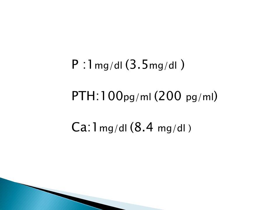 P :1 mg/dl (3.5 mg/dl ) PTH:100 pg/ml (200 pg/ml ) Ca:1 mg/dl (8.4 mg/dl )