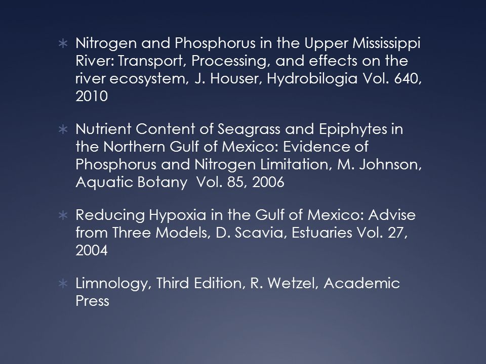  Nitrogen and Phosphorus in the Upper Mississippi River: Transport, Processing, and effects on the river ecosystem, J.