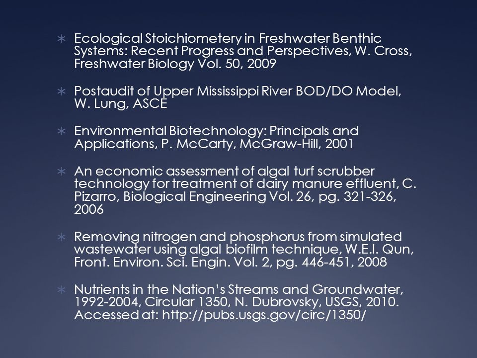  Ecological Stoichiometery in Freshwater Benthic Systems: Recent Progress and Perspectives, W.