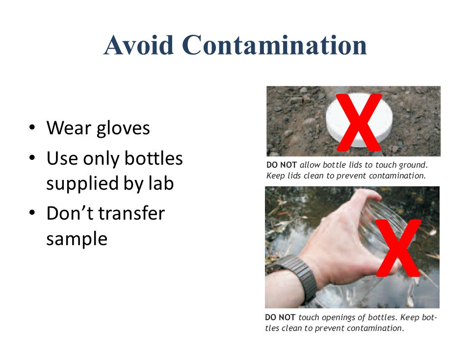 Avoid Contamination Wear gloves Use only bottles supplied by lab Don't transfer sample X X