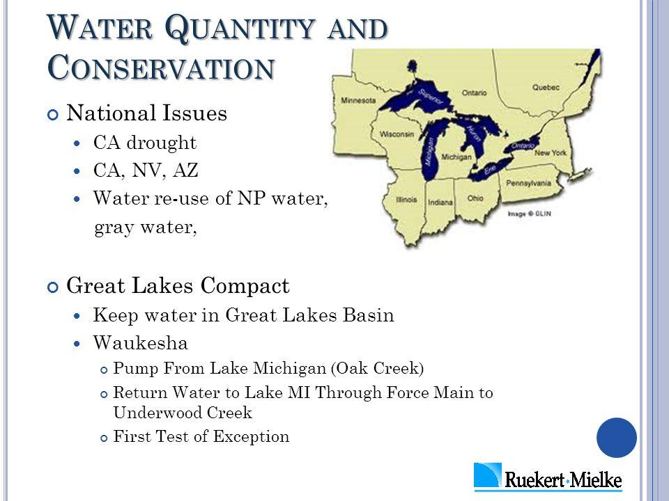 W ATER Q UANTITY AND C ONSERVATION National Issues CA drought CA, NV, AZ Water re-use of NP water, gray water, Great Lakes Compact Keep water in Great