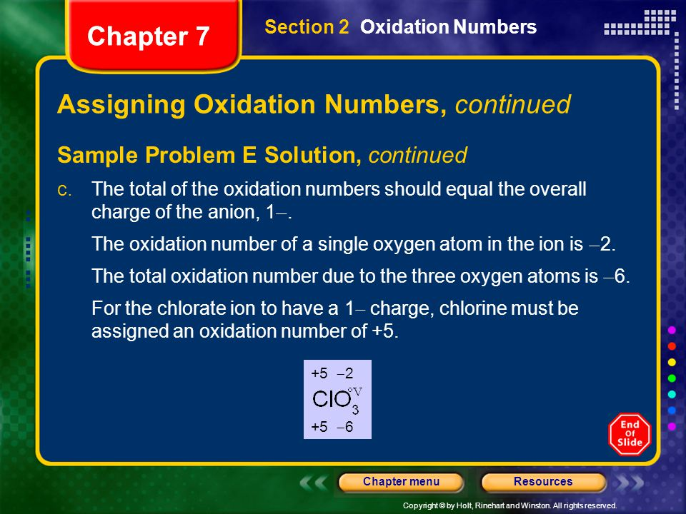 Copyright © by Holt, Rinehart and Winston. All rights reserved. ResourcesChapter menu Chapter 7 Assigning Oxidation Numbers, continued Sample Problem