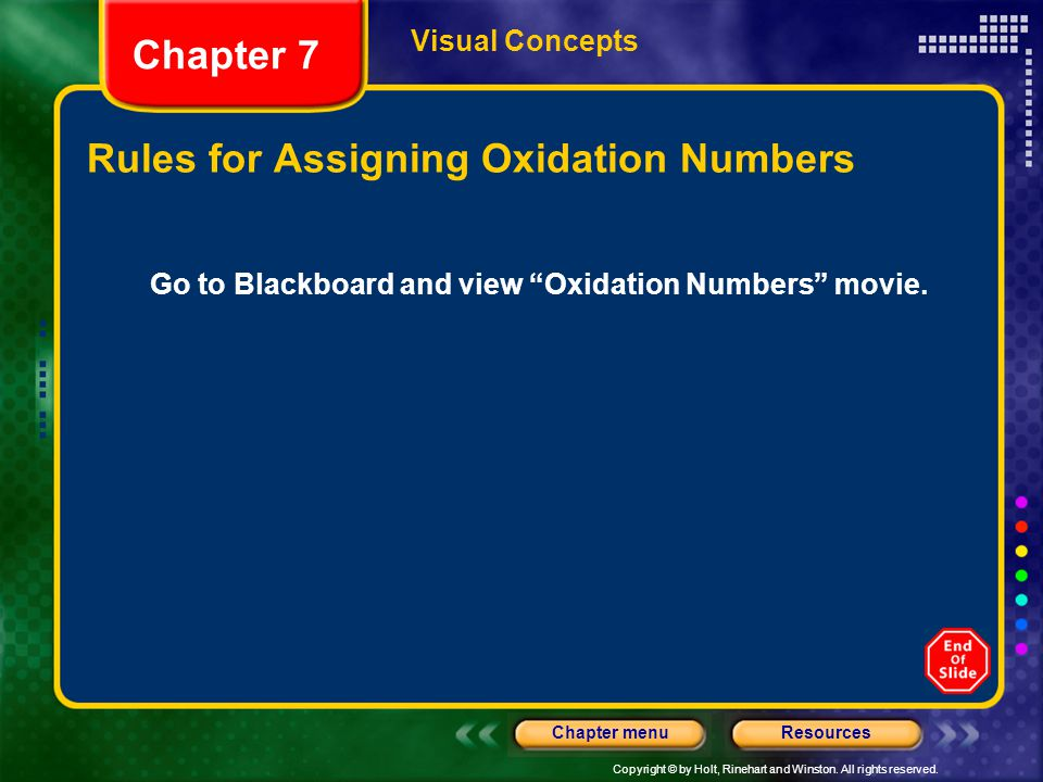 "Copyright © by Holt, Rinehart and Winston. All rights reserved. ResourcesChapter menu Chapter 7 Visual Concepts Go to Blackboard and view ""Oxidation N"