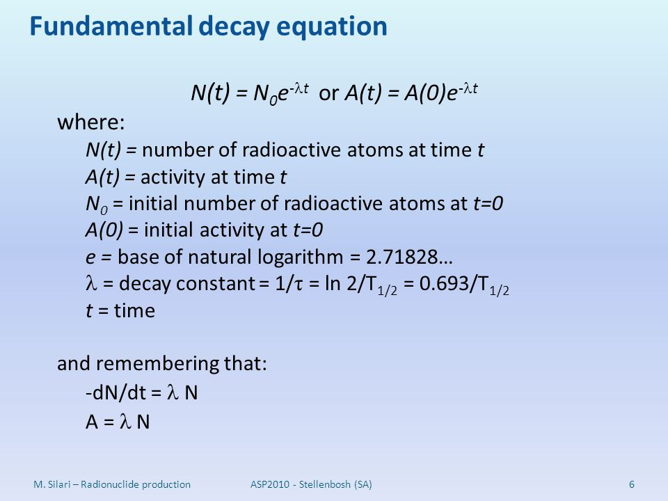 Fundamental decay equation 6M. Silari – Radionuclide productionASP2010 - Stellenbosh (SA) N (t) = N 0 e - t or A(t) = A(0)e - t where: N(t) = number o