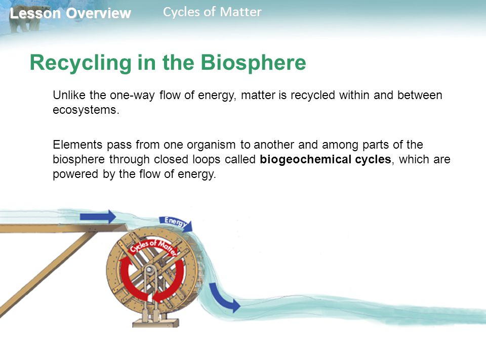 Lesson Overview Lesson Overview Cycles of Matter Recycling in the Biosphere Biogeochemical cycles of matter involve biological processes, geological processes, and chemical processes.