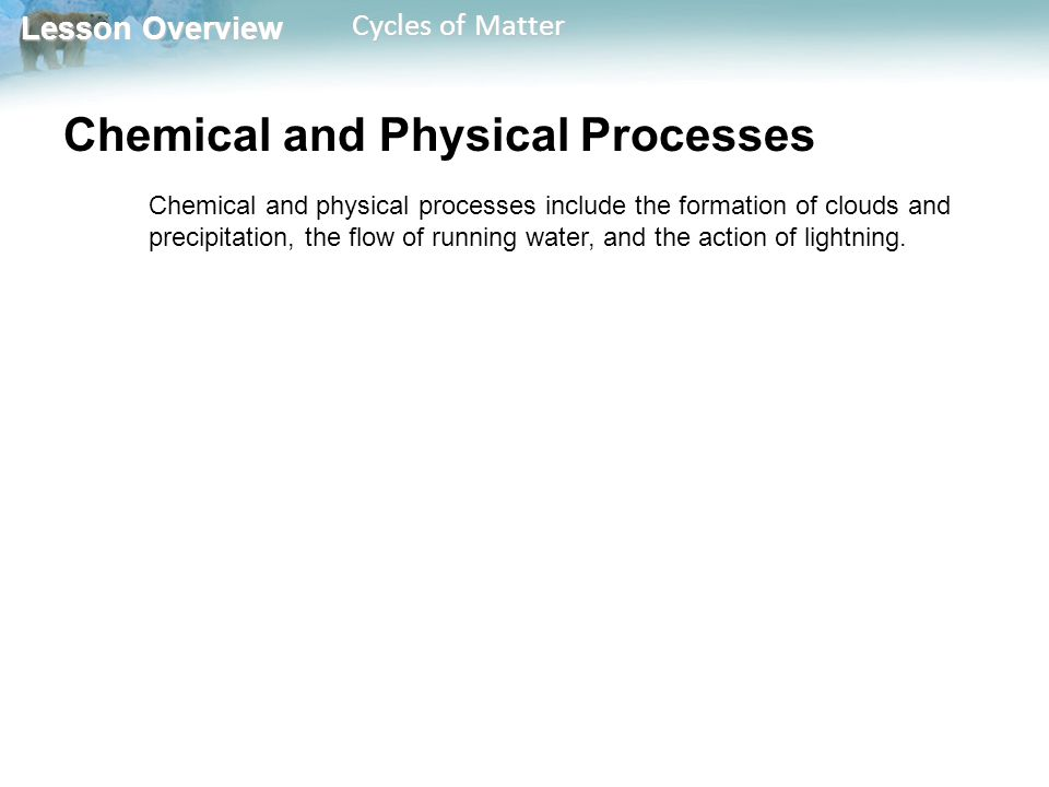 Lesson Overview Lesson Overview Cycles of Matter Human Activity Human activities that affect cycles of matter on a global scale include the mining and burning of fossil fuels, the clearing of land for building and farming, the burning of forests, and the manufacture and use of fertilizers.