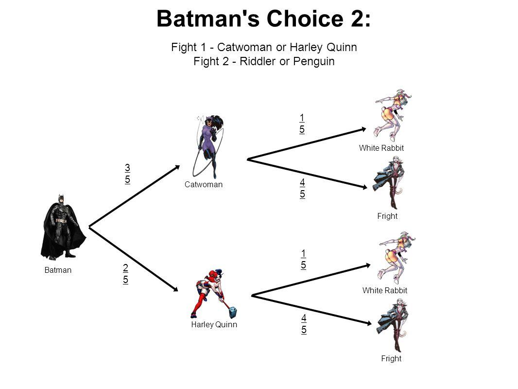 Batman s Choice 2: Batman Harley Quinn Catwoman White Rabbit Fright 3535 2525 1515 4545 1515 4545 White Rabbit Fright Fight 1 - Catwoman or Harley Quinn Fight 2 - Riddler or Penguin