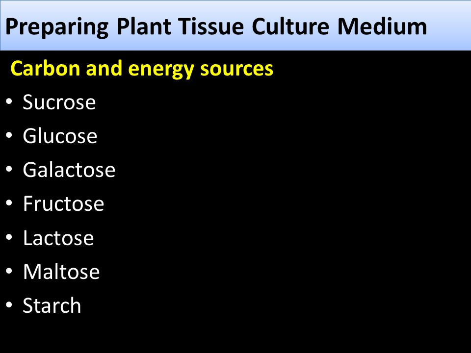 Preparing Plant Tissue Culture Medium Carbon and energy sources Sucrose Glucose Galactose Fructose Lactose Maltose Starch