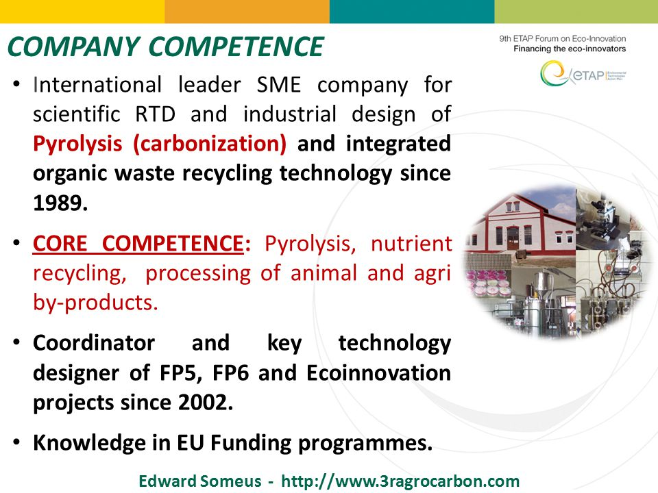 COMPANY COMPETENCE Edward Someus - http://www.3ragrocarbon.com International leader SME company for scientific RTD and industrial design of Pyrolysis (carbonization) and integrated organic waste recycling technology since 1989.