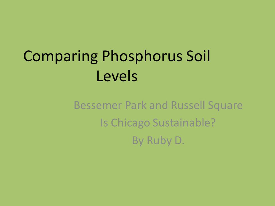 Comparing Phosphorus Soil Levels Bessemer Park and Russell Square Is Chicago Sustainable.