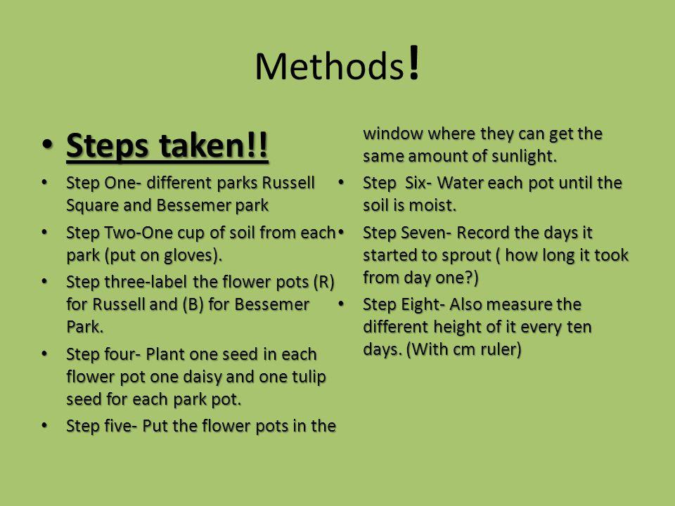 Methods .Steps taken!. Steps taken!.