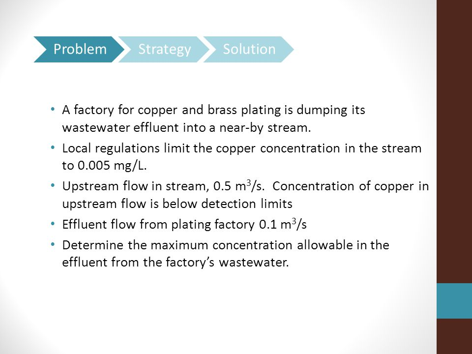 A factory for copper and brass plating is dumping its wastewater effluent into a near-by stream.